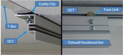 DCT tracked mounted to a false ceiling using caddy clip.  A FWHB is then screwed onto the DCT.